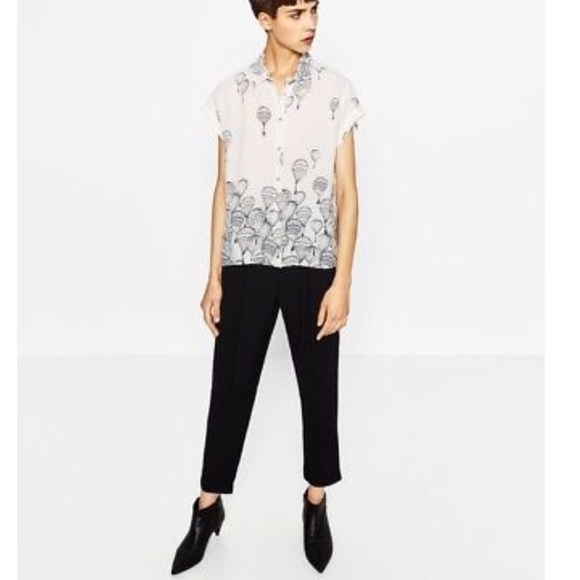 1888b63d3b996e Zara Tops | Nwt Hot Air Balloon Printed Button Down Top | Poshmark